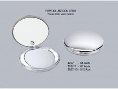 ESPEJO MANUAL CON LED CROMO
